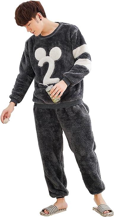 Otoño y el Invierno de Espesor de Felpa Parejas Pijama Mangas largas Lindo Dibujos Animados Digital Mickey Mouse Servicio a Domicilio de Hombres Traje