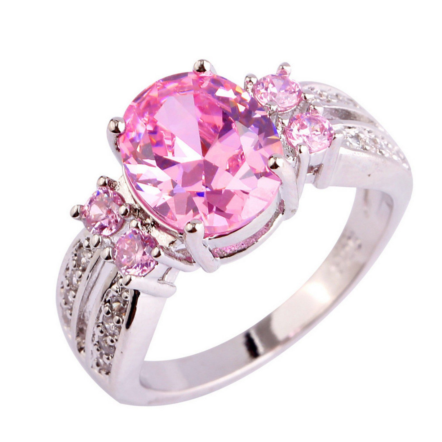 Amazon.com: Slyq Jewelry Nice Jewelry Pink White CZ Silver Color ...