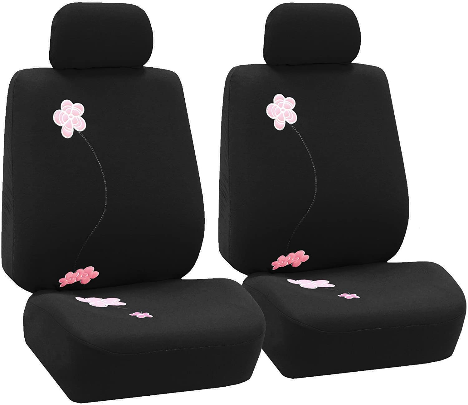 FH Group FB053BLACK102 Seat Cover (Flower Embroidery Airbag Compatible (Set of 2) Black)