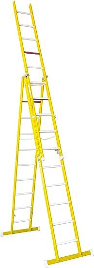 Escalera aislante de tijera con un tramo extensible, fabricada en fibra de vidrio. NO permite su uso con los tres tramos extendidos. Según norma UNE-EN 131 (10 peldaños x 3 tramos): Amazon.es: