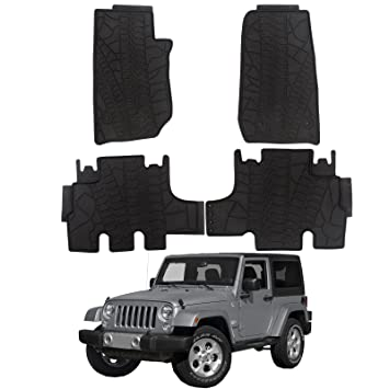 2014 Jeep Wrangler Floor Mats Durable Breathable Floor Liners PVC Latex Fit  2014 Jeep Wrangler Black