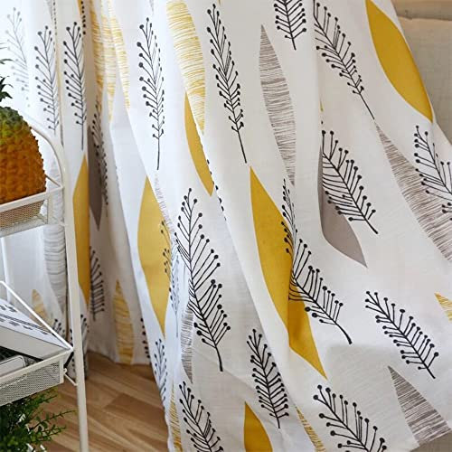Cherry Home Multicolored Leaf Curtains Print Floral Blocking Light Lined Curtain Pair Pillow Set Panel Drapes Grommet Yellow 52Wx102L Inch,2 Panels,2 Matched Pillow Case for Bedroom