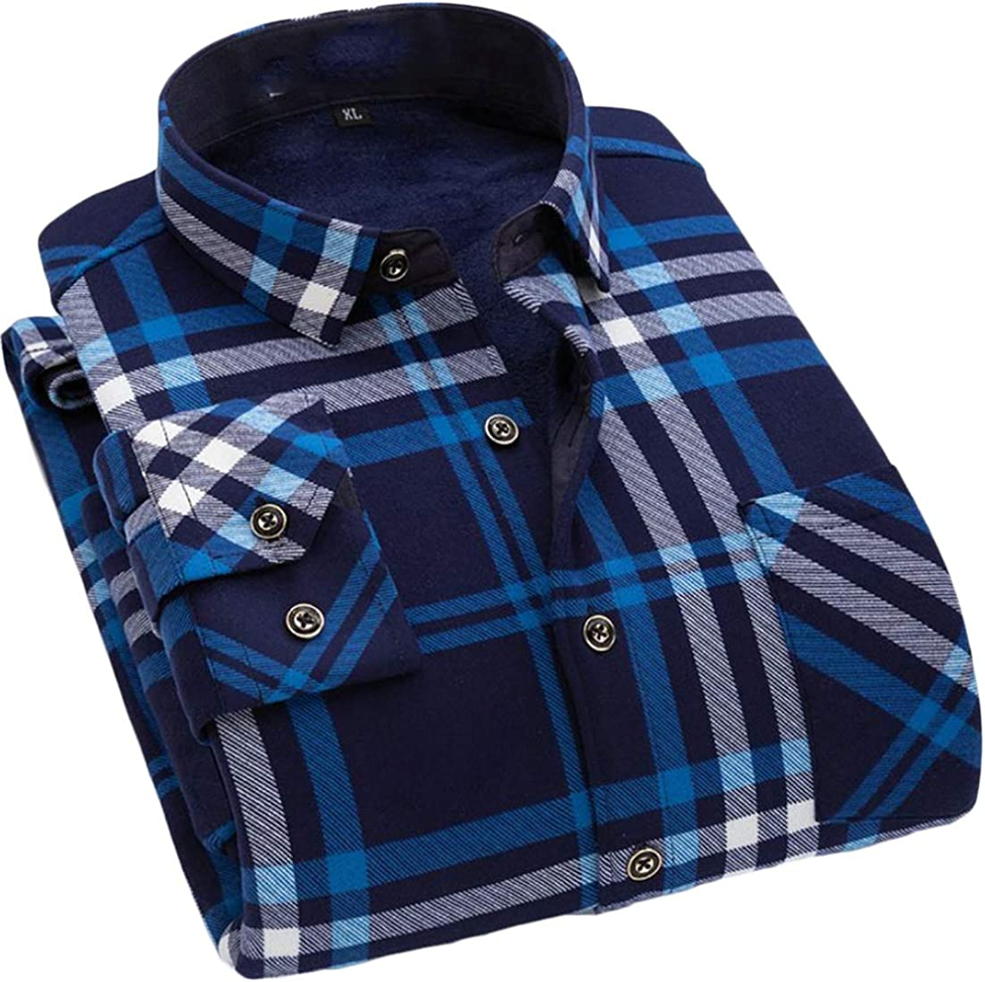 Wofupowga Men Long Sleeve Autumn Winter Warm Checkered Fleece Button Front Shirts