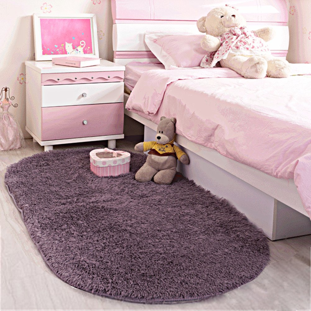 LOCHAS Ultra Soft Children Rugs Room Mat Modern Shaggy Area Rugs Home Decor 2.6' X 5.3', Gray-Purple