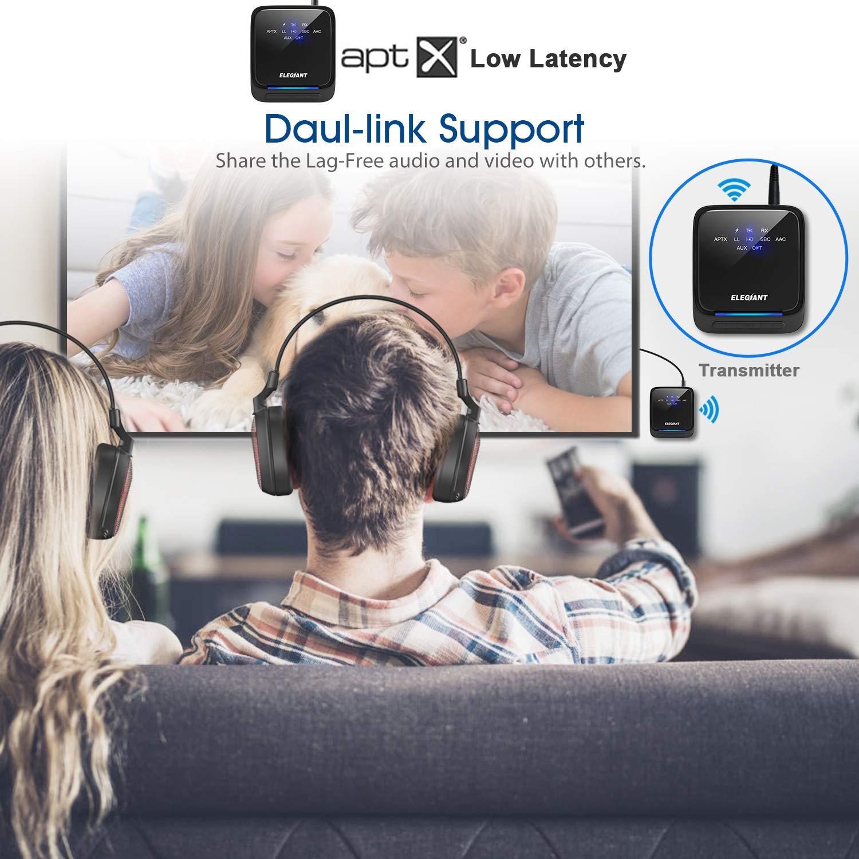 Receptor Inal/ámbrico 2 en 1 Audio HD AptX HD de Baja Latencia con Toslink /Óptico//SPDIF para TV Altavoz Est/éreo Port/átil Auriculares Cascos ELEGIANT Transmisor Bluetooth 5.0