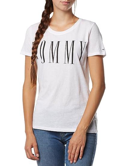 0ec4dd18 Tommy Hilfiger T- Shirt Femme Flag Clean Logo Tee XL Blanc: Amazon.fr:  Vêtements et accessoires