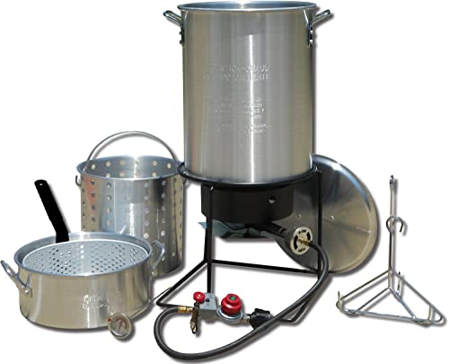 King Kooker 1265BF3 Portable Propane Outdoor Deep Frying Boiling Package with 2 Aluminum Pots