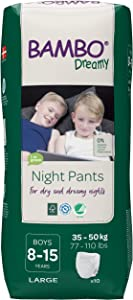 Bambo Nature Bambo Nature Eco Friendly Dreamy Night Pants for Boys 8-15 Years (77-110 Lbs), 10 Count, 10 Count