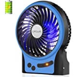 OPOLAR Battery Operated Fan, 3-13 Working Hours, Personal Handheld Fan, Portable, Rechargeable, 3 Speeds, Small Desk Fan with Internal and Side Light, Cooling for Travel,Camping, Boating,Fishing-Blue
