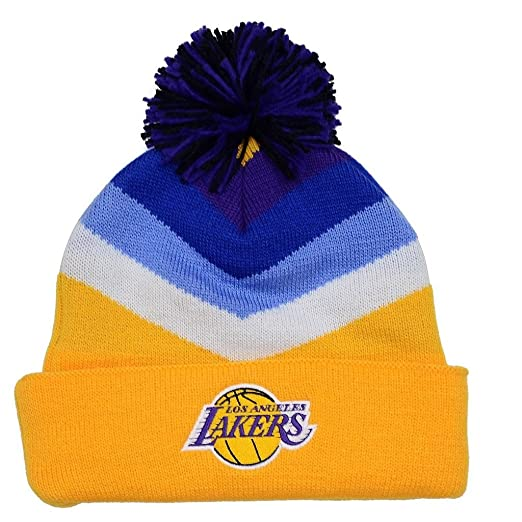 6ff02601dcc25 Image Unavailable. Image not available for. Color  Los Angeles Lakers  Mitchell   Ness V Stripe Vintage Logo Knit Hat with Pom