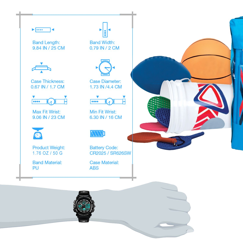 ragazzi orologi digitali analogici – Orologio sportivo all\' aperto per bambini, 5 atm impermeabile elettronico analogico da polso sportiva con allarme/Dual Time/LED per adolescenti bambini