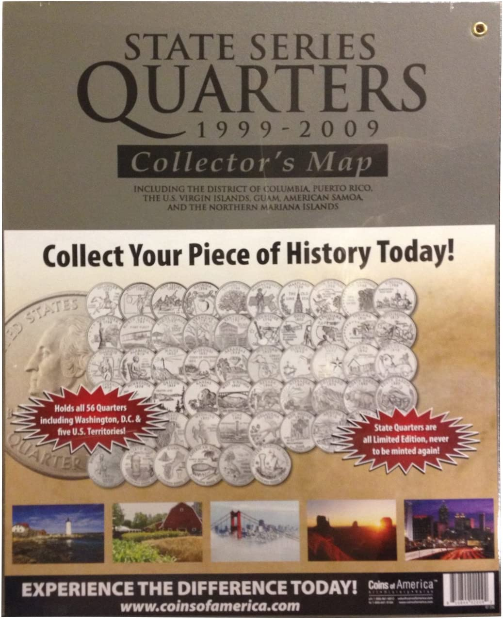 COIN COLLECTOR/'S MAP HARRIS BRAND - H.E STATE QUARTERS 1999-2009