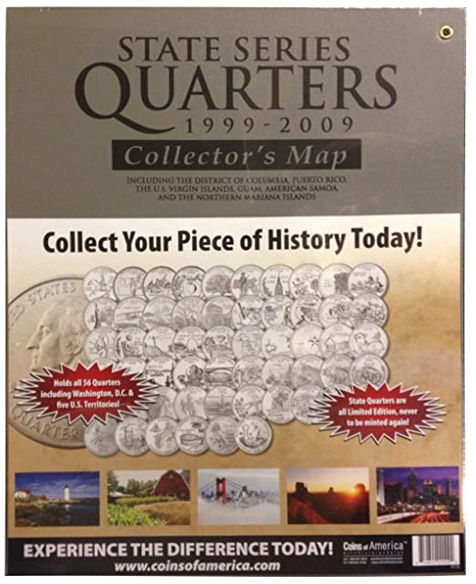 Amazoncom State Quarter Map Us State Quarter Collection Toys - Four old us maps in holder