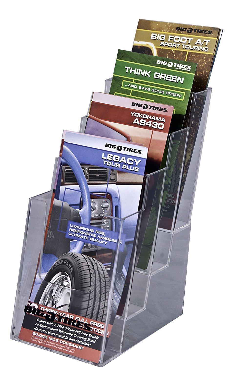 Clear-Ad - LHF-S104 - Acrylic Slant Back 4 Tier Trifold Brochure Display - Plastic Literature Holder for Flyers, Booklets, Bills, Mail, Letters, Cards, Pamphlets, Maps (Pack of 4) by Clear-Ad (Image #1)
