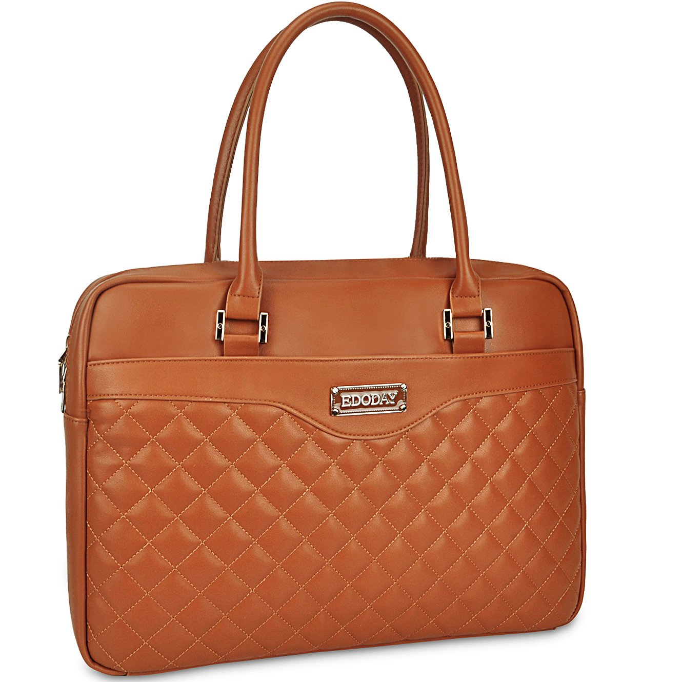 Laptop Bag for Women,Fit 15.6 in Work Travel Laptop Tote Bag with Multi Layer Padding by EDODAY[L0012/brown]