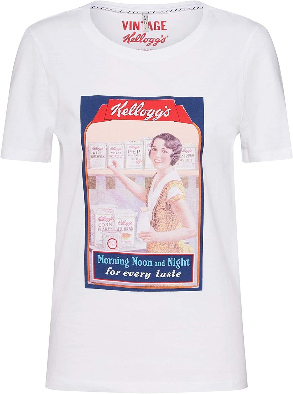Only Camiseta Kelloggs Blanco para Mujer XS Blanco: Amazon.es: Ropa y accesorios
