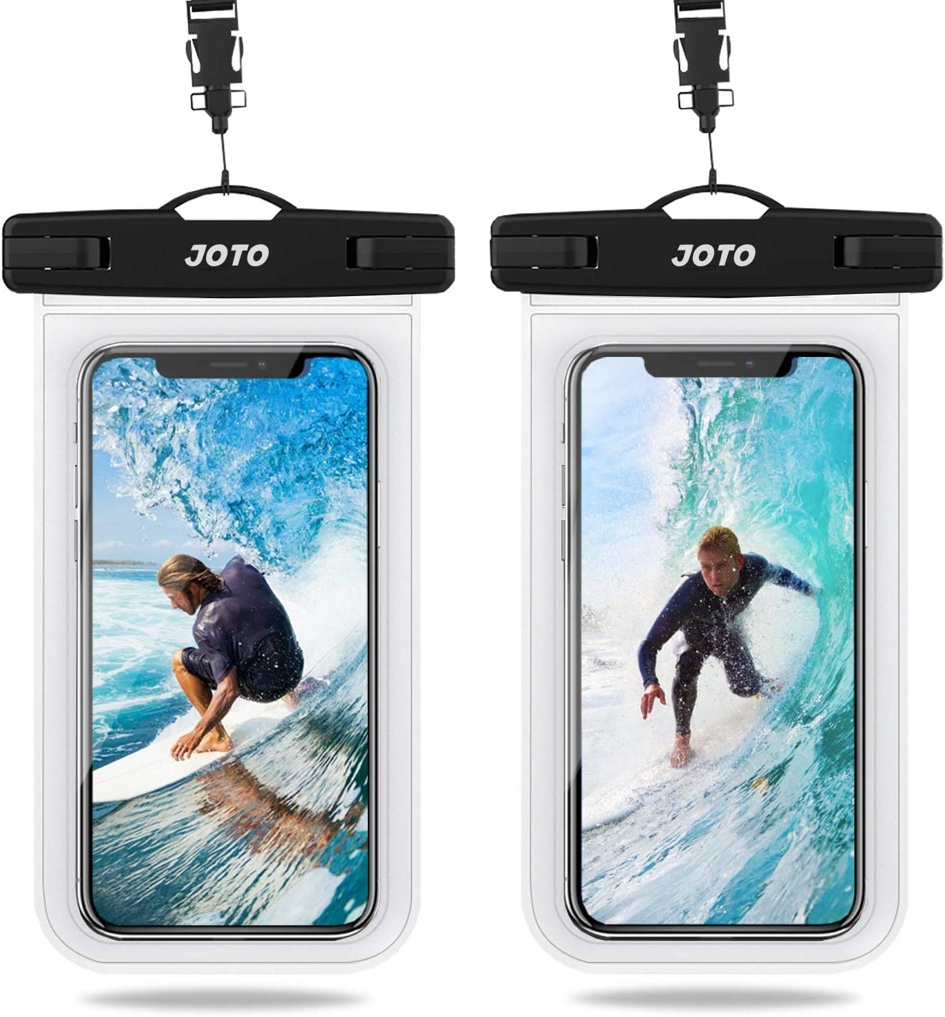 """JOTO Universal Waterproof Pouch, IPX8 Waterproof Cellphone Dry Bag Underwater Case for iPhone 11 Pro Max Xs Max XR X 8 7 6S+ SE 2020, Galaxy S20 Ultra S10 S9 S8/Note10+ 9 up to 6.9"""" -2 Pack, Clear"""
