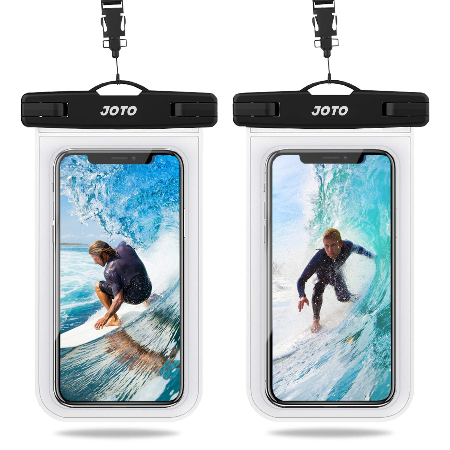 JOTO Universal Waterproof Case, IPX8 Cellphone Dry Bag Pouch Underwater Case for iPhone Xs Max XR XS X 8 7 6S Plus, Galaxy S10+ S10 S9 S8+/ Note 10 10+ 5G 9 8, Pixel 3a 3 XL up to 6.8'' -2 Pack, Clear by JOTO