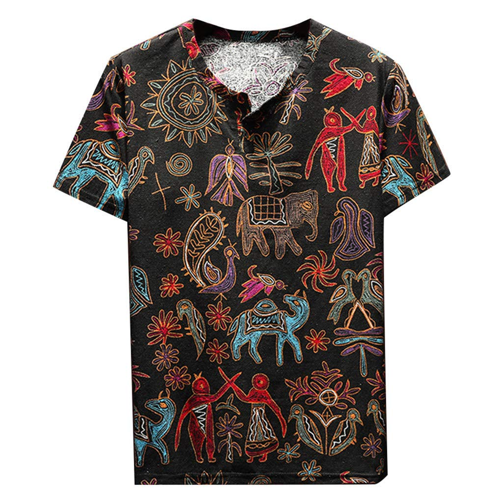 HimTak National Style T-Shirt For Men's Printed Large Size Round Neck Short Sleeve Summer Breathable And Comfortable Wild Top