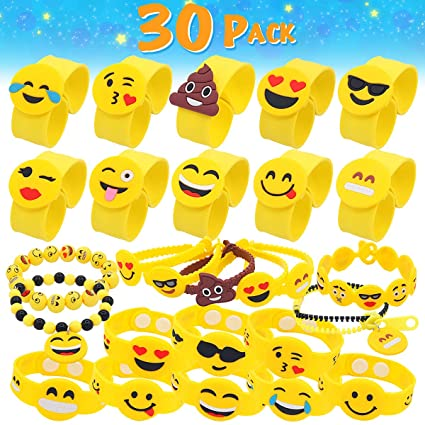 Pawliss Emoji Bracelets 30 Pack Wristband Birthday Party Favors Supplies For Kids Girls Emoticon Toys Prizes