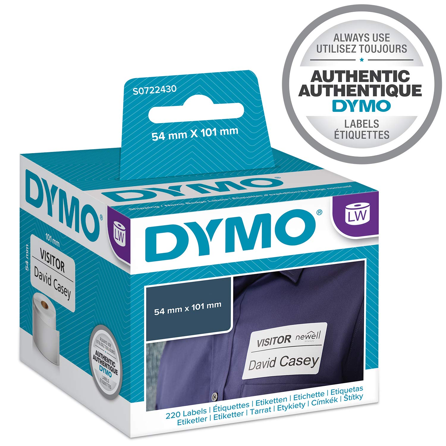 Dymo 54 mm x 101 mm lw large shipping labels name badges roll of 220 easy peel labels self adhesive for labelwriter label makers