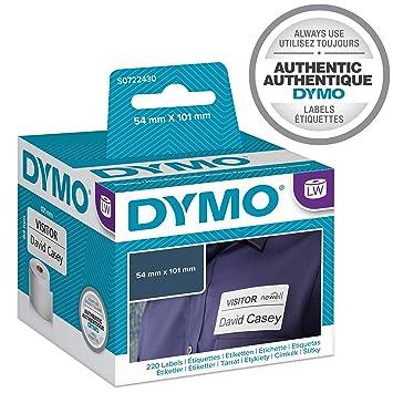 Dymo LabelWriter, etiquetas grandes de tarjetas de identificación/envío, 101 x 54 mm (rollo de 220), impresión negra sobre fondo blanco, ...