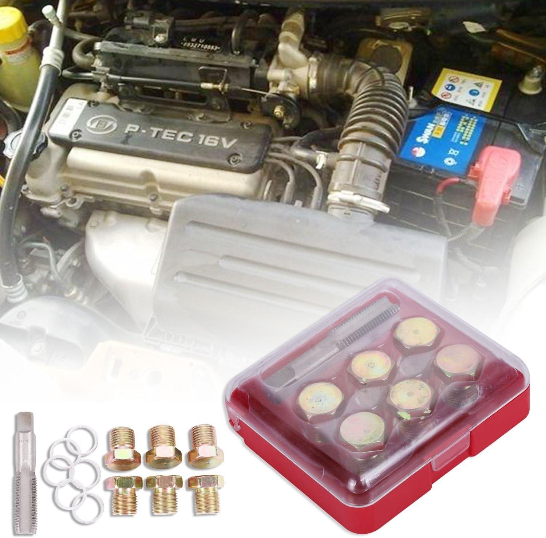 SODIAL 7 pcs M15X1.5 Oil Sump Pan Stripped Thread Repair Tools Set Automotive Drain Tool