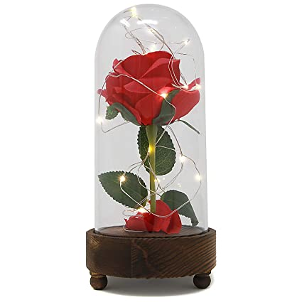 Maison White Light Up Rose Bell Jar Enchanted Led Glass Dome