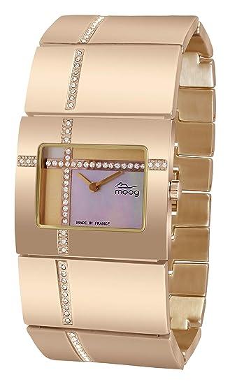 Moog Paris Mondrian Reloj para Mujer con Esfera Nácar Oro Rosa, Correa Oro Rosa de