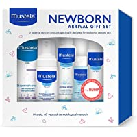 Mustela Newborn Arrival Gift Set, Baby Bath Time and Skin Care Essentials, 5 Items