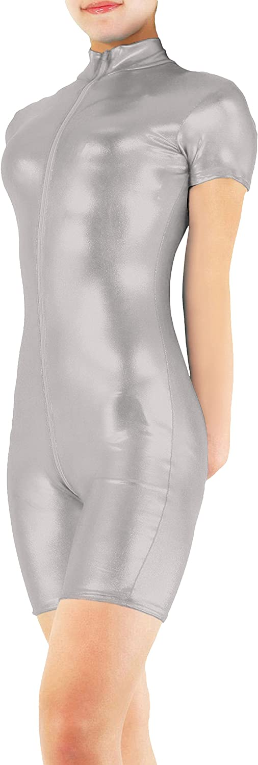 Sheface Shiny Metallic Short Sleeve Unitard Catsuit Jumpsuit Costume For Adults and Kids