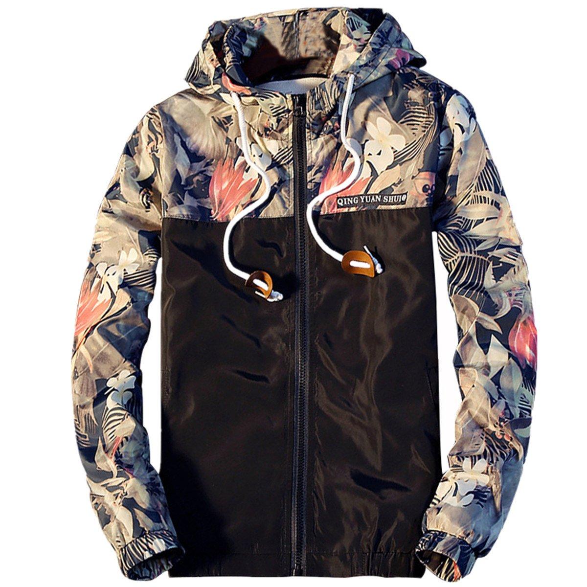 Amcupider Men's Contrast Zip Front-Zip Jacket Large Black
