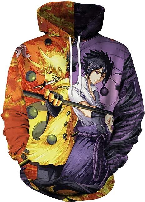 Imagen deMemoryee Moda 3D Naruto Anime Patrón Impreso Sudadera con Capucha Unisex Tallas Grandes Desgastar Ropa Deportiva Sudadera Ligera con Bolsillos Mangas largas Cordón