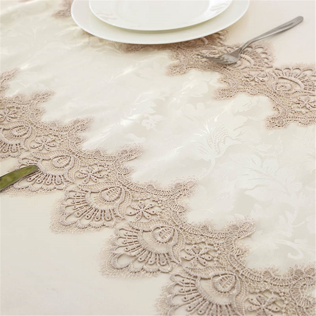TaiXiuHome Modern Lace Floral Embroidered Indoor Outdoor Table Runner Table flags for Country Rustic Party Wedding Home Decoration 16 x 48 inch approx by TaiXiuHome (Image #3)