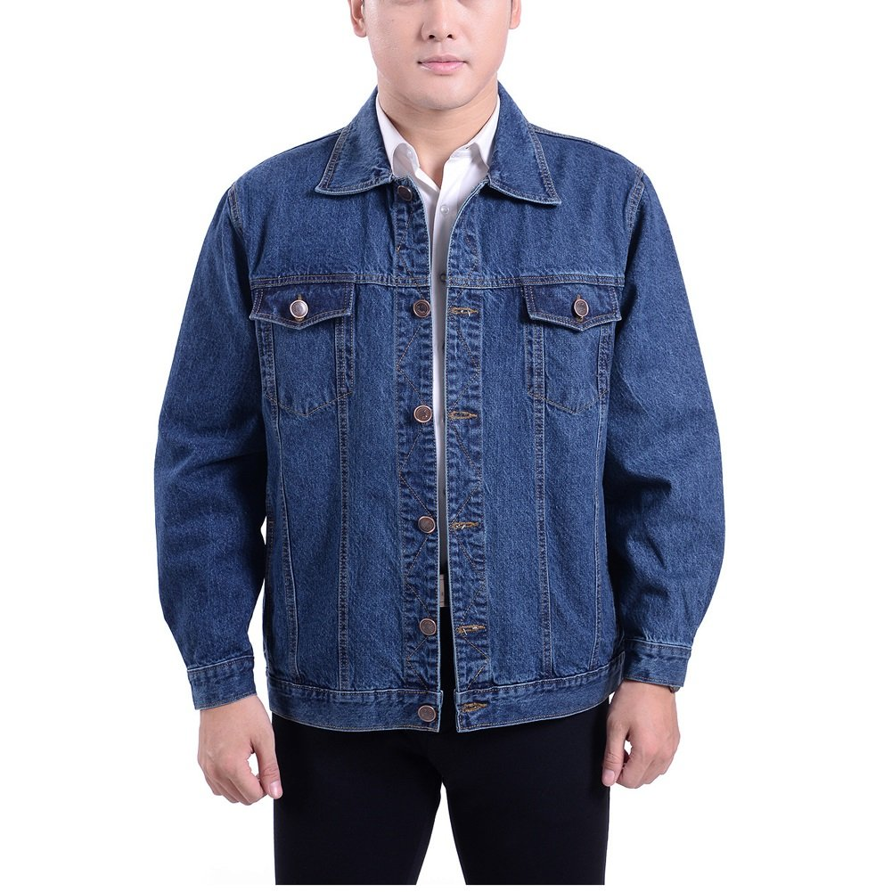 LETSQK Men's Classic Cotton Unlined Trucker Rugged Wear Jean Denim Jacket