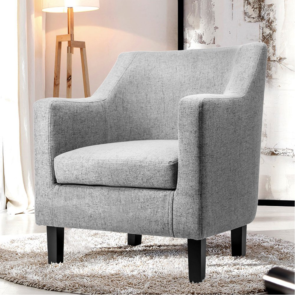 Harper & Bright Designs Fabric Accent Chair Contemporary Arm Chair with Solid Wood Legs (Gray