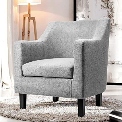 Harper u0026 Bright Designs Fabric Accent Chair Contemporary Arm Chair with Solid Wood Legs (Gray & Amazon.com: Harper u0026 Bright Designs Fabric Accent Chair Contemporary ...