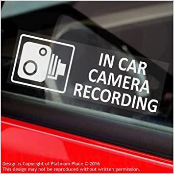5 x small in car camera recording stickers cctv signs vanlorry
