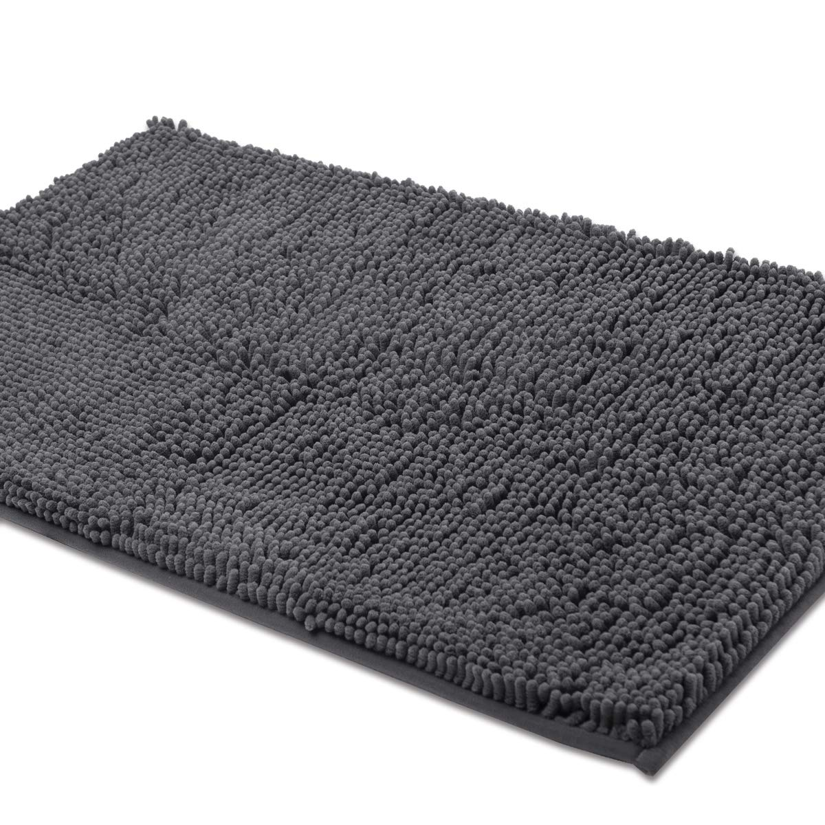 ITSOFT Non Slip Shaggy Chenille Bath Mat for Bathroom Rug Water Absorbent Carpet 21 x 34 Inches Charcoal Gray by ITSOFT