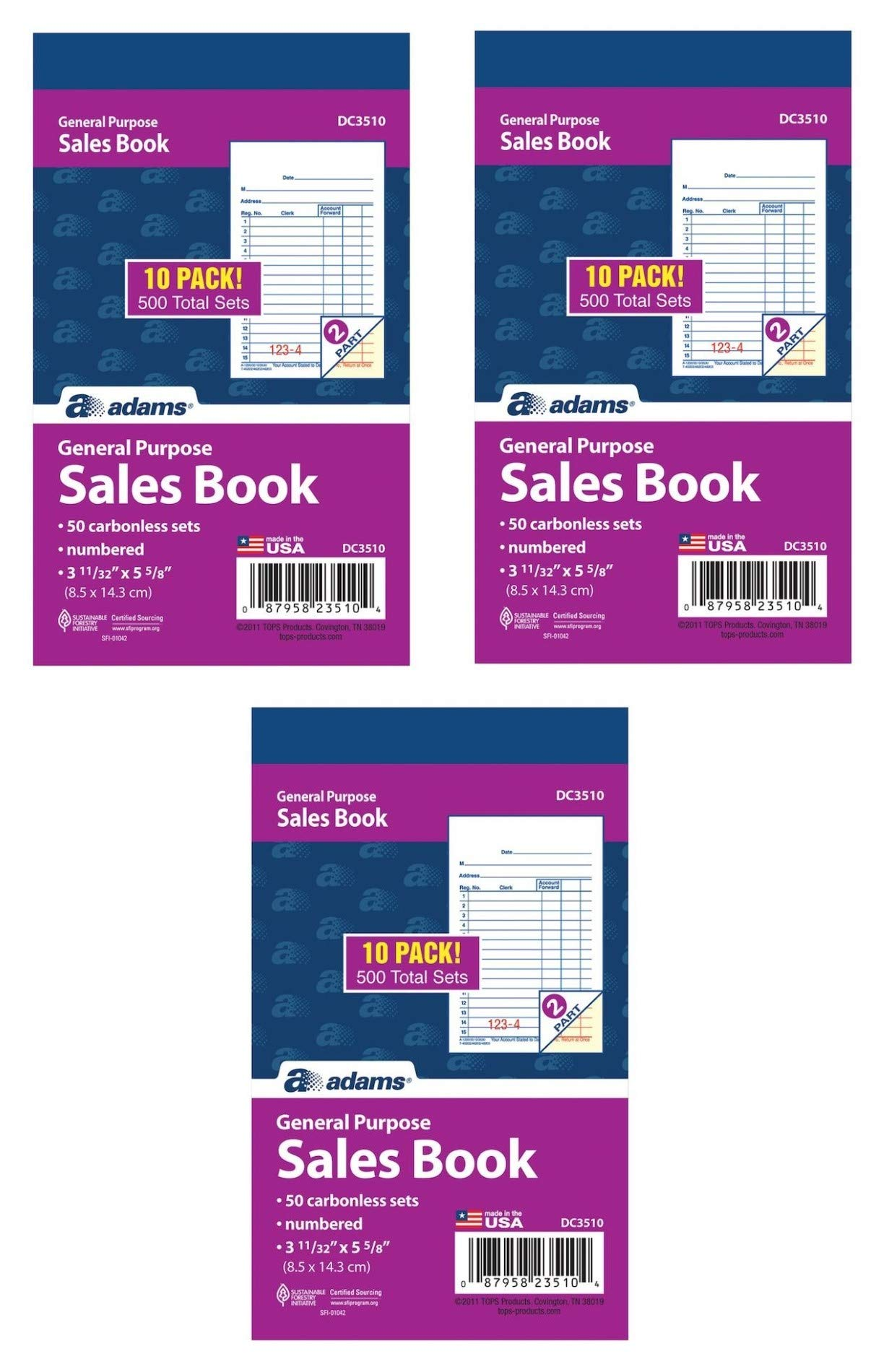 Adams General Purpose Sales Book, 2-Part, Carbonless, White/Canary, 3-11/32 x 5-5/8 Inches, 50 Sets/Book, 30 Books, 1500 Sets Total (DC3510)