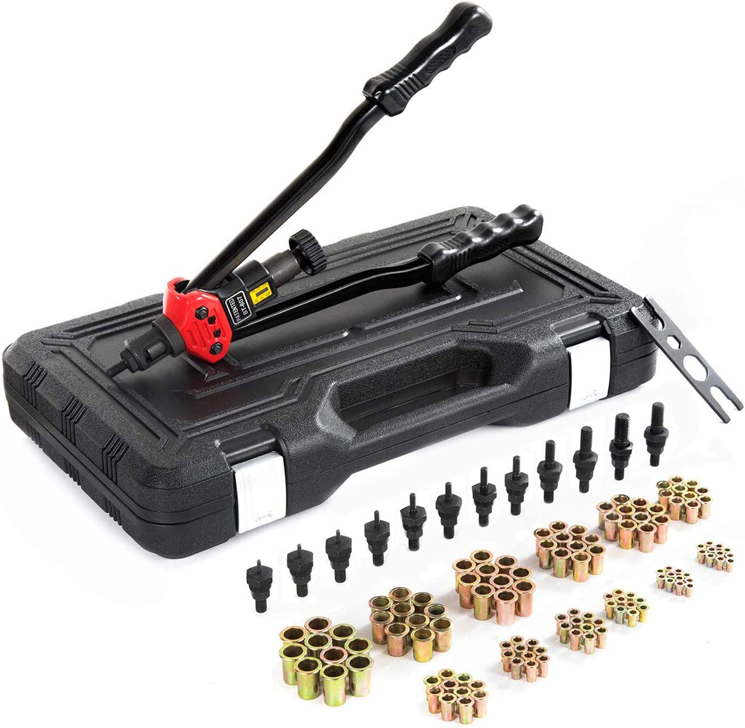 8-32)And 120 PCS Rivets Nuts 3//8-16 5//16-18 zision tool 16/″Hand Riveter Rivet Tool professional installation kit Including 12 Interchangeable Mandrel(M3 M4 M5 M6 M8 M10 M12 SAE 10-24 1//4-20