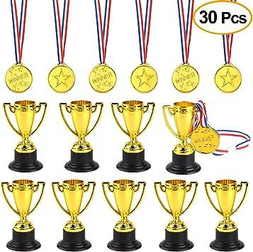 FEPITO 30 Piezas de trofeos de medallas Set 10 Piezas de Trofeo de plástico de Oro y 20 Piezas de medallas ganadoras para Kid Party Sports Awards: Amazon.es: Juguetes y juegos