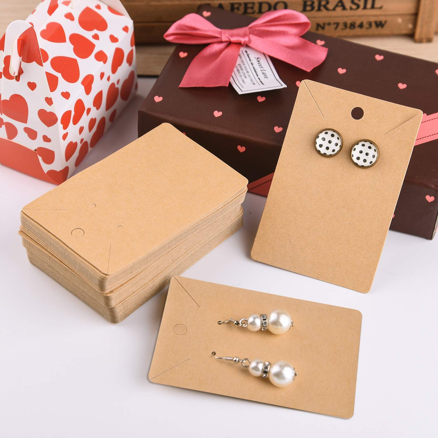 Earring Card Holder Blank Kraft Paper Tags for DIY Ear Studs Necklace Jewelry Display Brown 300 Set Earring Card with 300 Pcs Bags
