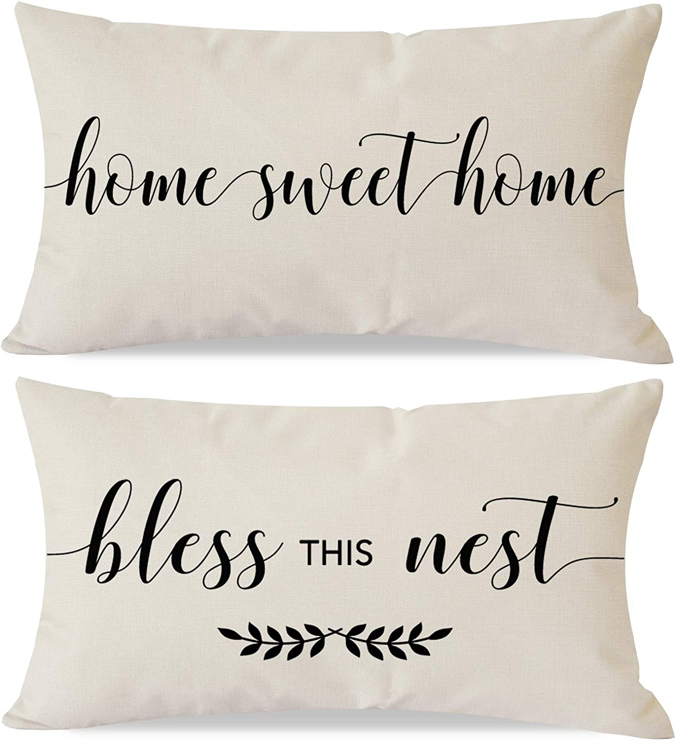 PANDICORN Set of 2 Farmhouse Pillow Covers 12x20 with Quotes Home Sweet Home Bless This Nest for Home Décor, Lumbar Throw Pillow Cases for Living Room Porch Chair