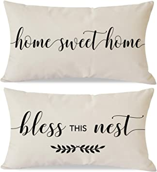 Pandicorn Set Of 2 Farmhouse Pillow Covers 12x20 With Quotes Home Sweet Home Bless This Nest For Home Décor Lumbar Throw Pillow Cases For Living Room Porch Chair Amazon Ca Home Kitchen