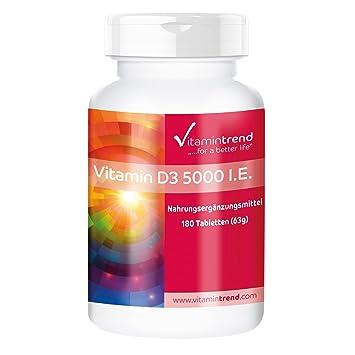 Vitamina D3 5000 UI - ¡¡Bote para 2 AÑOS!! - 180 tabletas - alta dosificación - una pastilla cada 5 días - colecalciferol - Vitamintrend: Amazon.es: Salud y ...