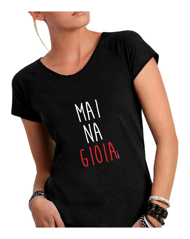Made in Italy T-Shirt Donna Girocollo Taglio Vivo 100/% Cotone Pettinato Fiammato Mai na Gioia