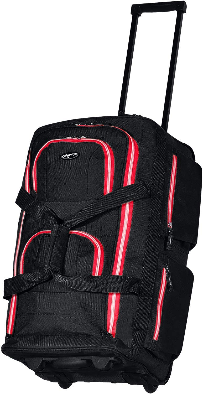 Olympia 8 Pocket Rolling Duffel Bag, Black/Red, 22 inch