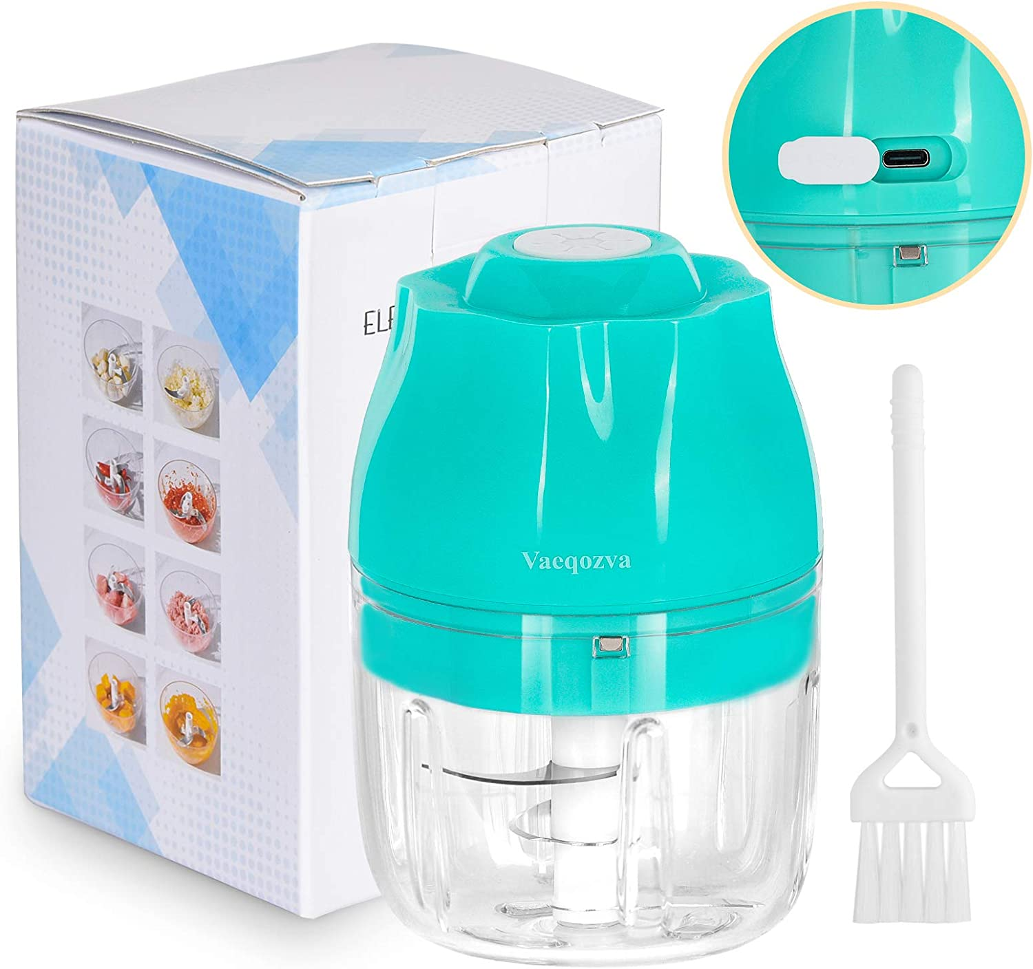 Electric Mini Food Chopper Vaeqozva Portable Wireless Mincer Blender Mixer USB Rechargeable Food Processor for Garlic Baby Food Vegetable Meat Fruits Onions Puree 8.45oz-Blue