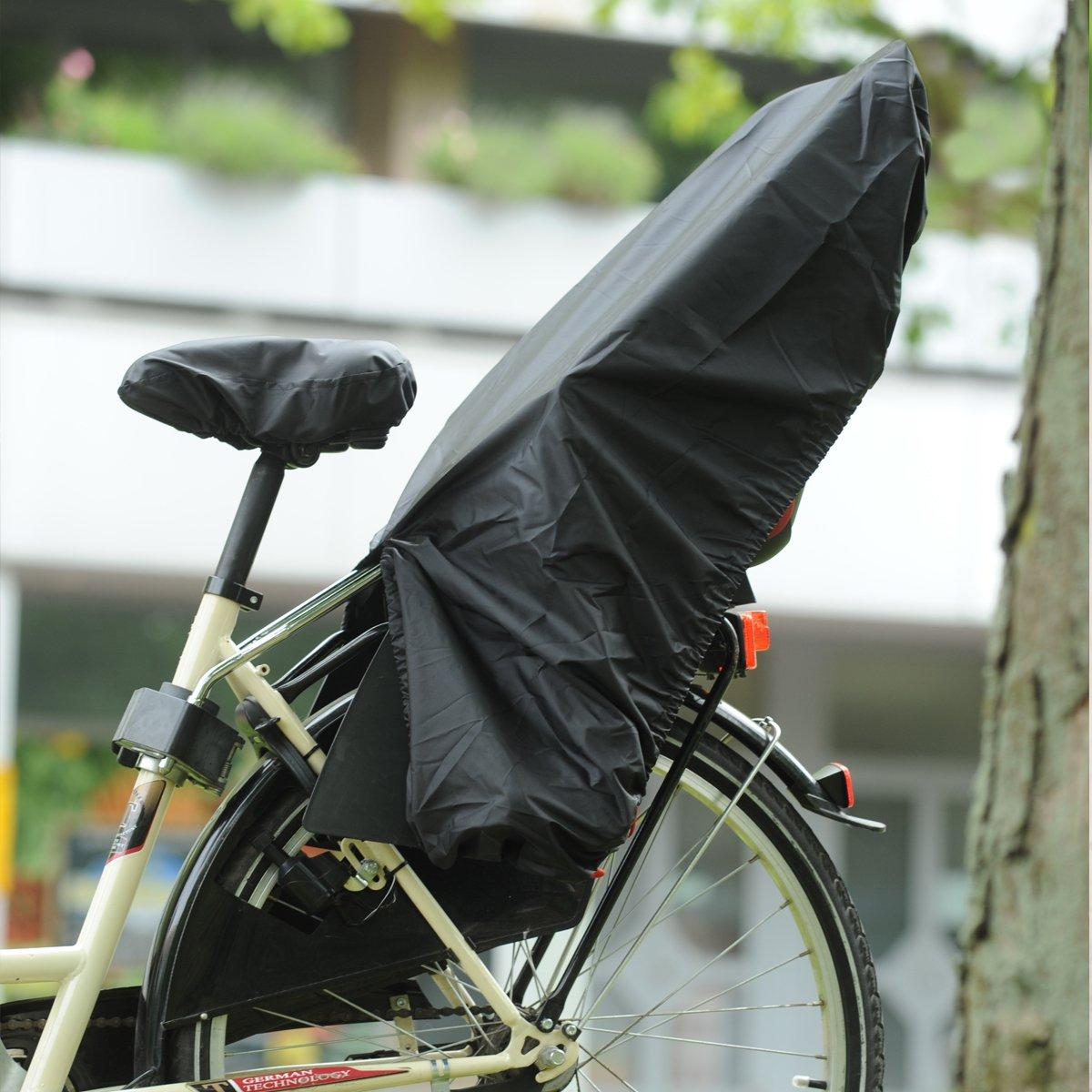 Trockolino sicuro in schwarz Regenschutz für Fahrrad-Kindersitz mit Schloss